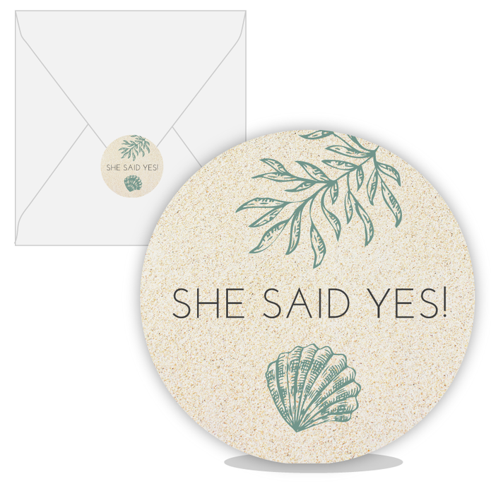 Sluitsticker beach she said yes voor