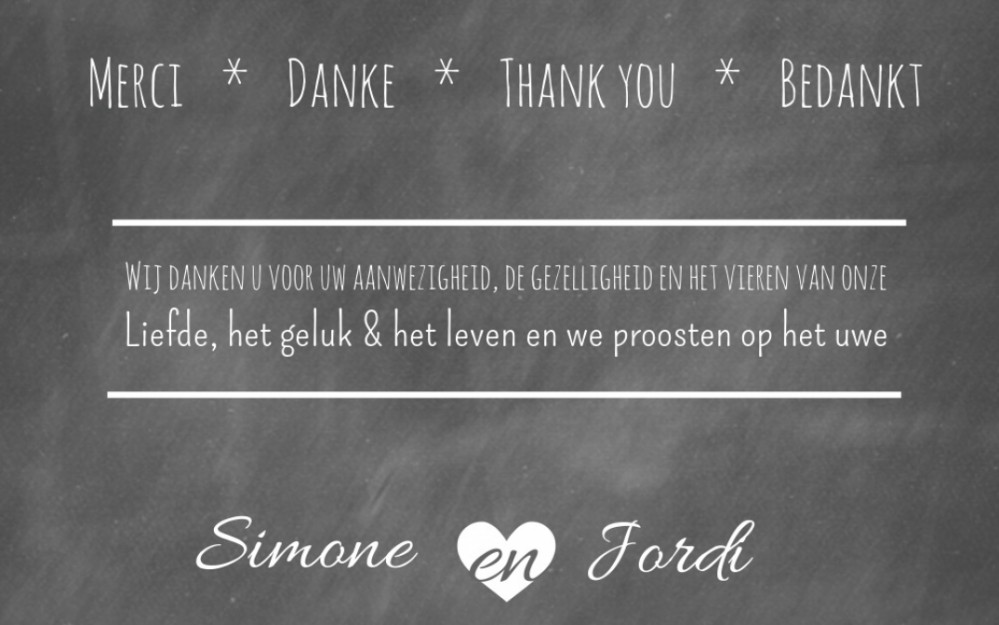 Bedankkaart - Chalkboard and love voor