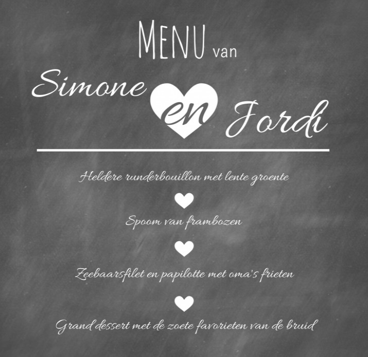Menukaart - Chalkboard and love voor