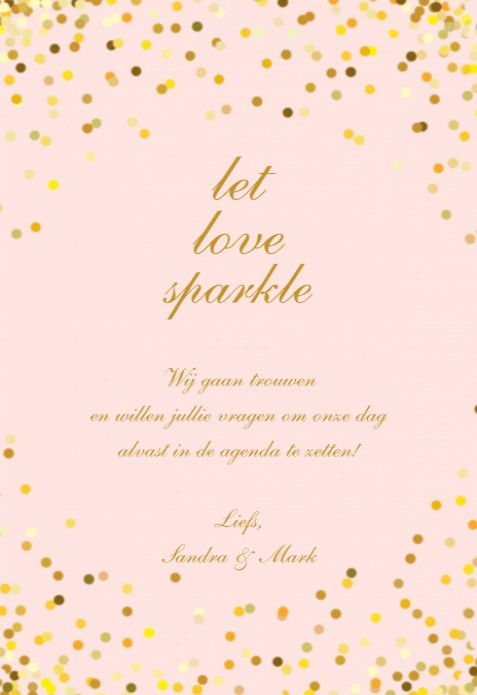 Save the Date - Gouden glitter achter
