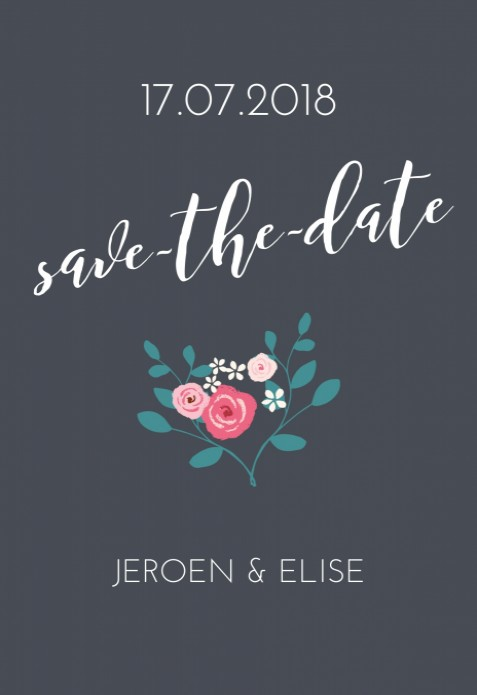 Save the date - Flowers grey voor