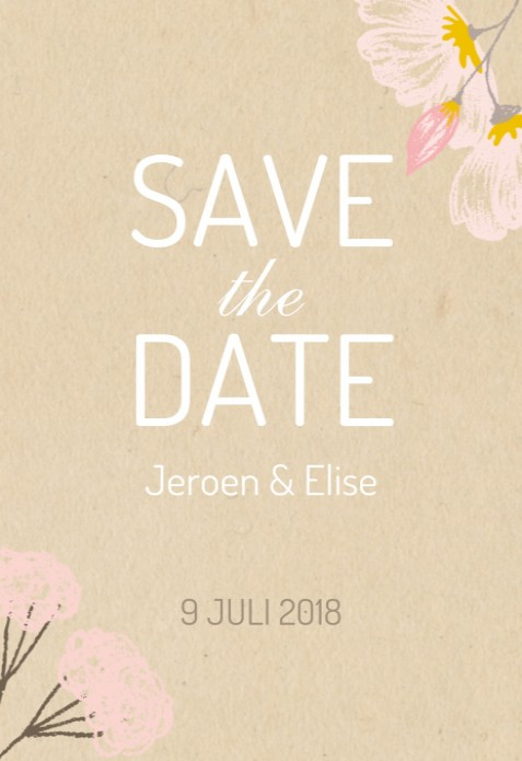 Save the date - Flowers pastel voor