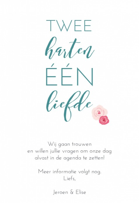 Save the date - Flowers white achter