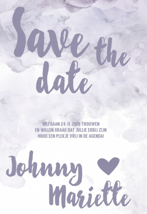 Save the date kaart - Watercolor Cloud voor