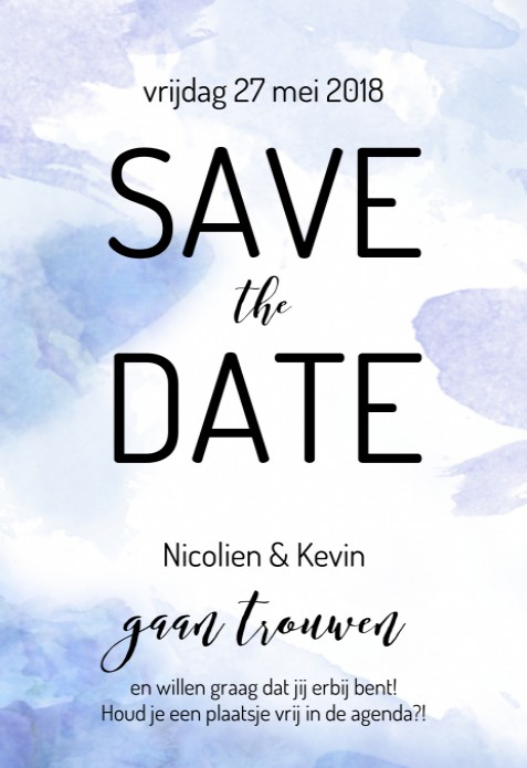 Save the date kaart - Watercolor Sea voor