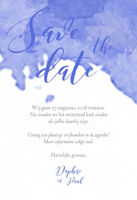 Save the date kaart - Watercolor Sky voor