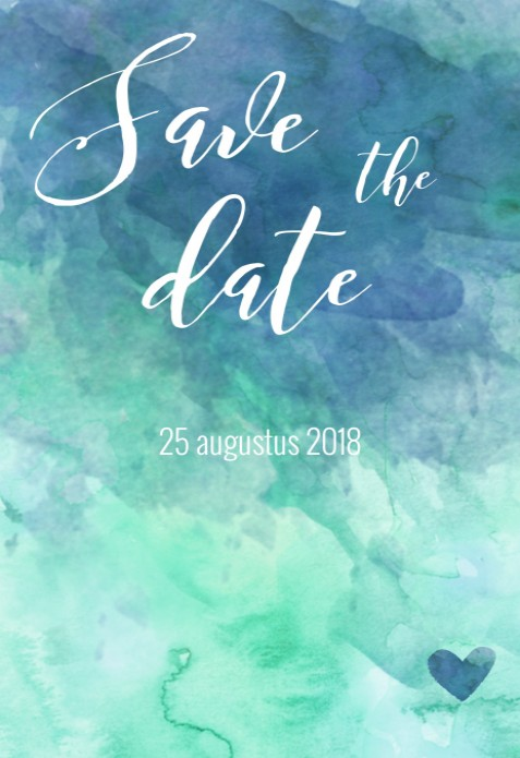 Save the date kaart - Watercolor Woods achter
