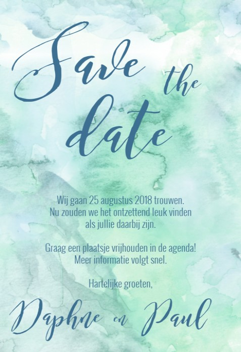 Save the date kaart - Watercolor Woods voor